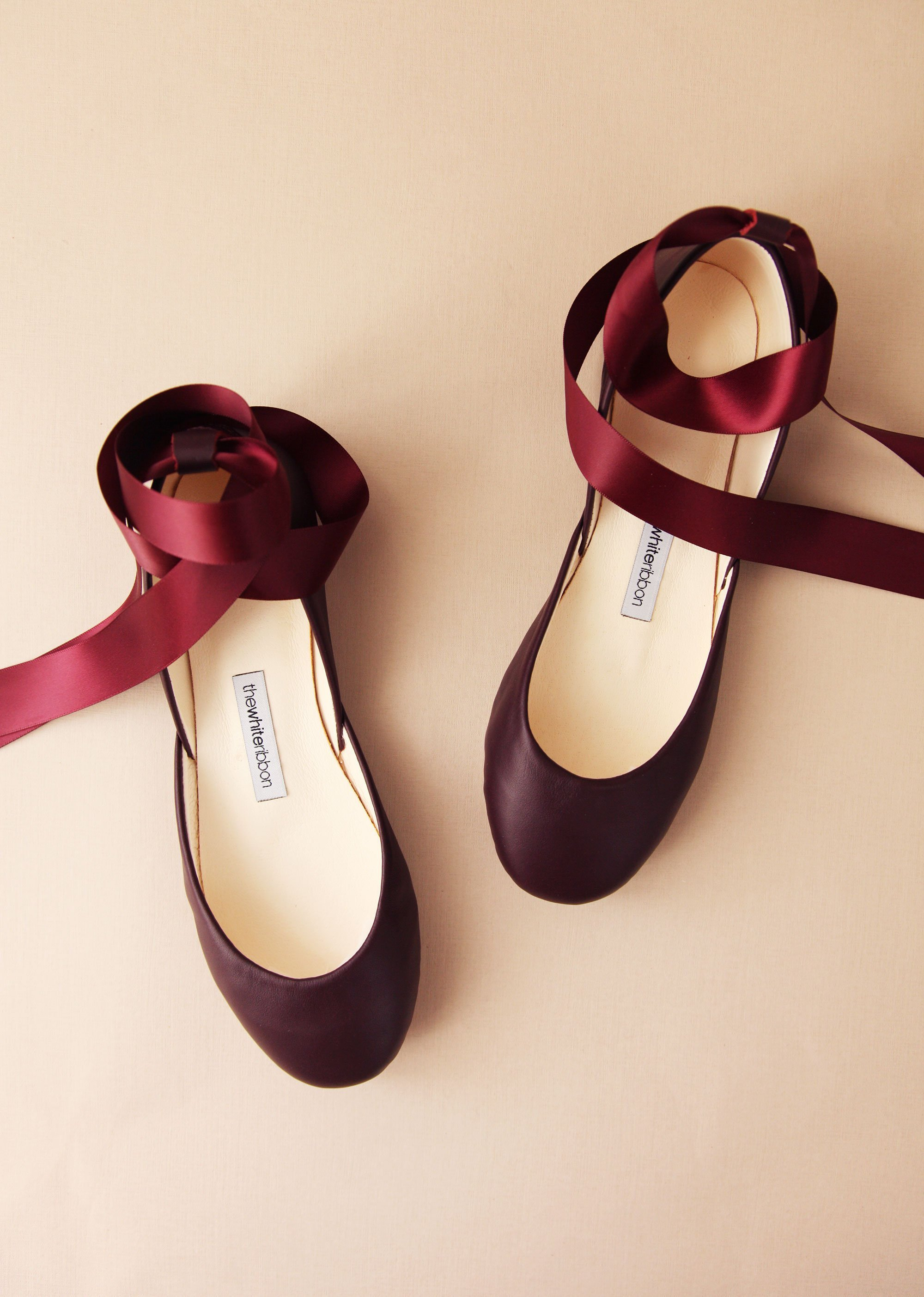 Bordeaux Leather Ballet Flats with Ankle Straps.jpg