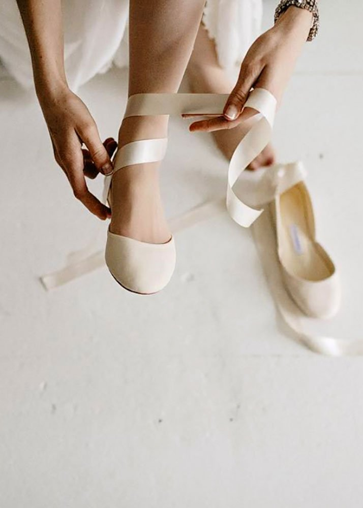 The Wedding Shoes Custom Bridal Ballet Flats Ivory White Pearl Bridal Shoes Satin and French Lace.jpg