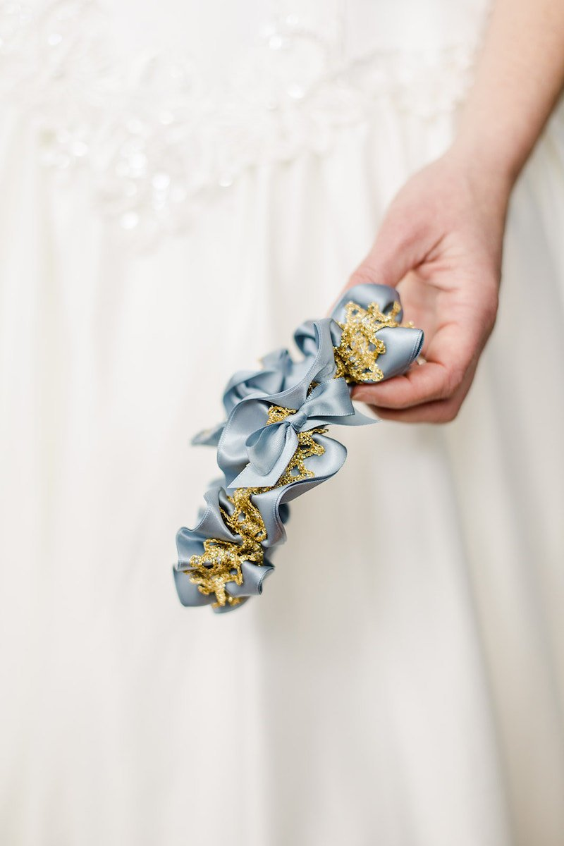 Something Blue Bridal Accessories, Gold Lace Wedding Garter, Dusty Blue Bridal Garter.jpg