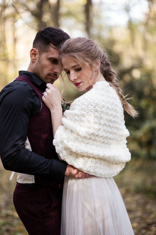 Ivory crochet shawl bridal shrug  romantic wedding stole 4.jpg