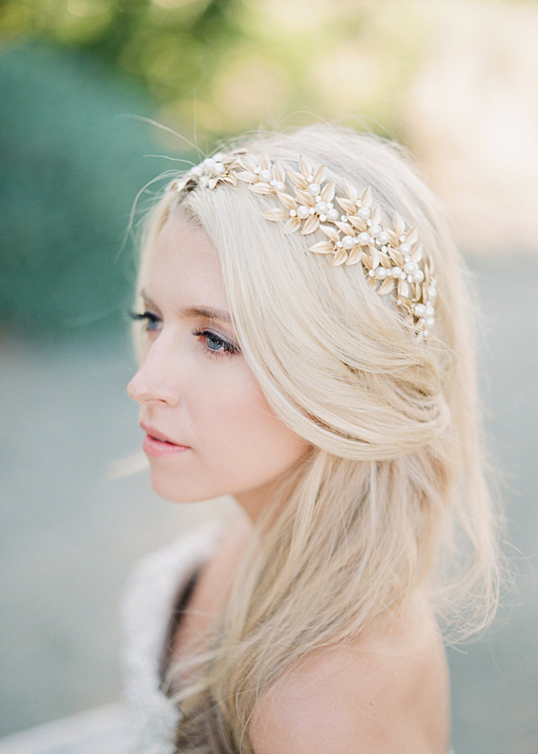 Bridal Headpiece, ELLWOOD Gold Bridal Leaf Headpiece, Pearl Bridal Headpiece, Gold Leaf Halo, Gold Bridal Pearl Headpiece, Bridal Halo Tiara.jpg