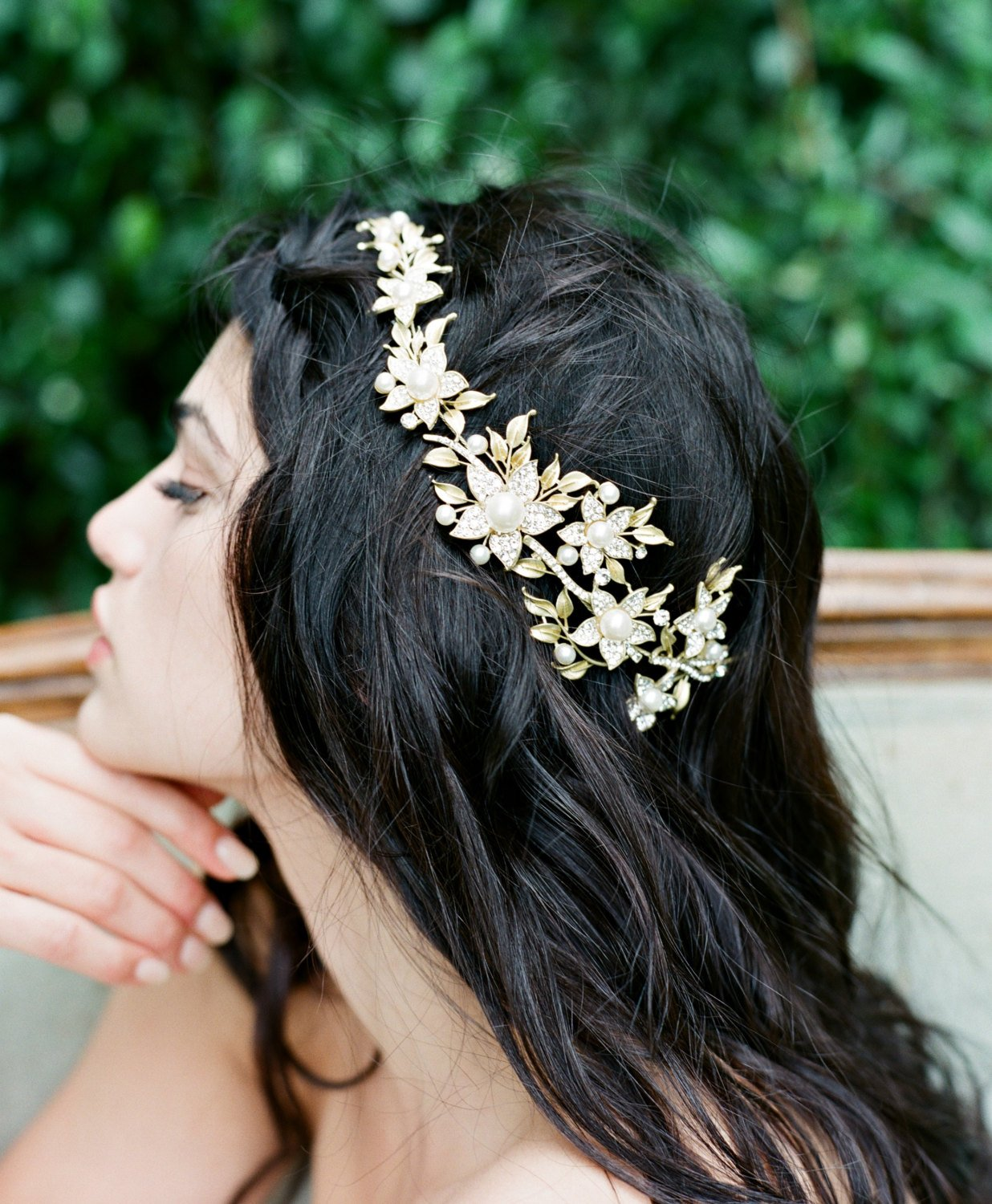 Gold Bridal Headpiece, AGNES Bridal Leaf Headpiece, Pearl Bridal Headpiece, Gold Leaf Halo, Gold Bridal Pearl Headpiece, Bridal Halo Tiara.jpg