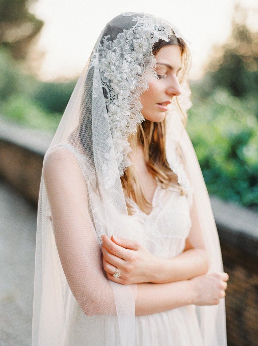 Bridal Veil, LaceVeil, Mantilla Veil, Lace Crystal beaded, Wedding Veil, Chapel Veil.jpg