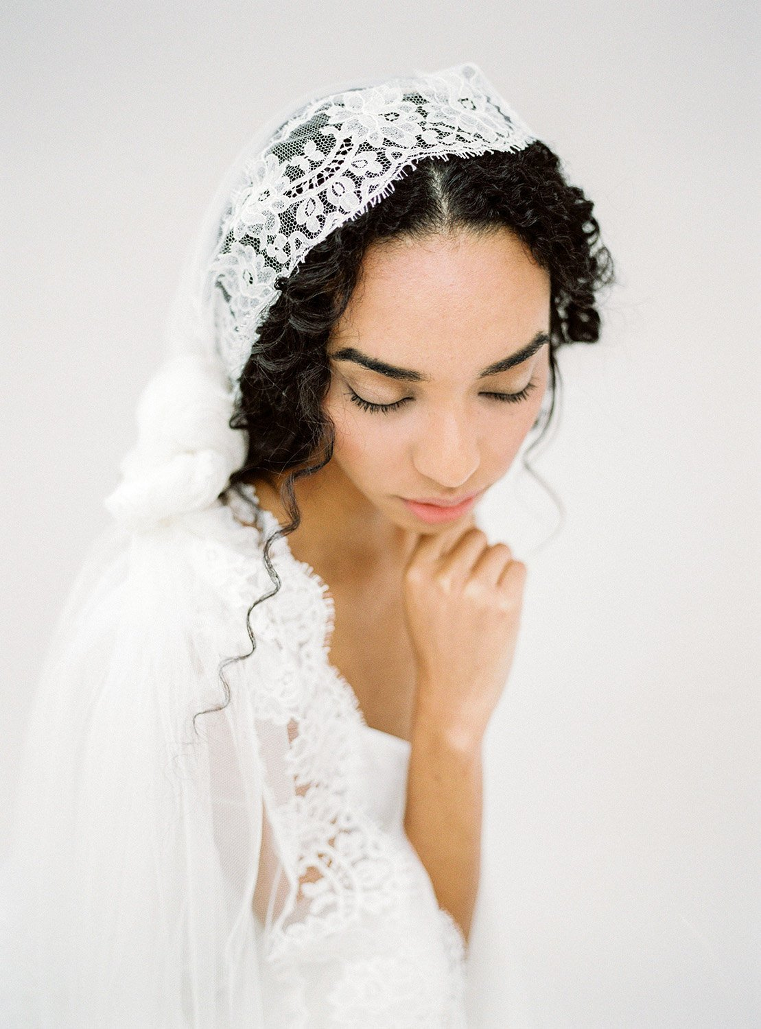 Ivory Mantilla Veil, Lace Cathedral Wedding Bridal Veil, Knotted Wedding Bridal Veil, Long Ivory Veil, Bohemian Statement Veil.jpg