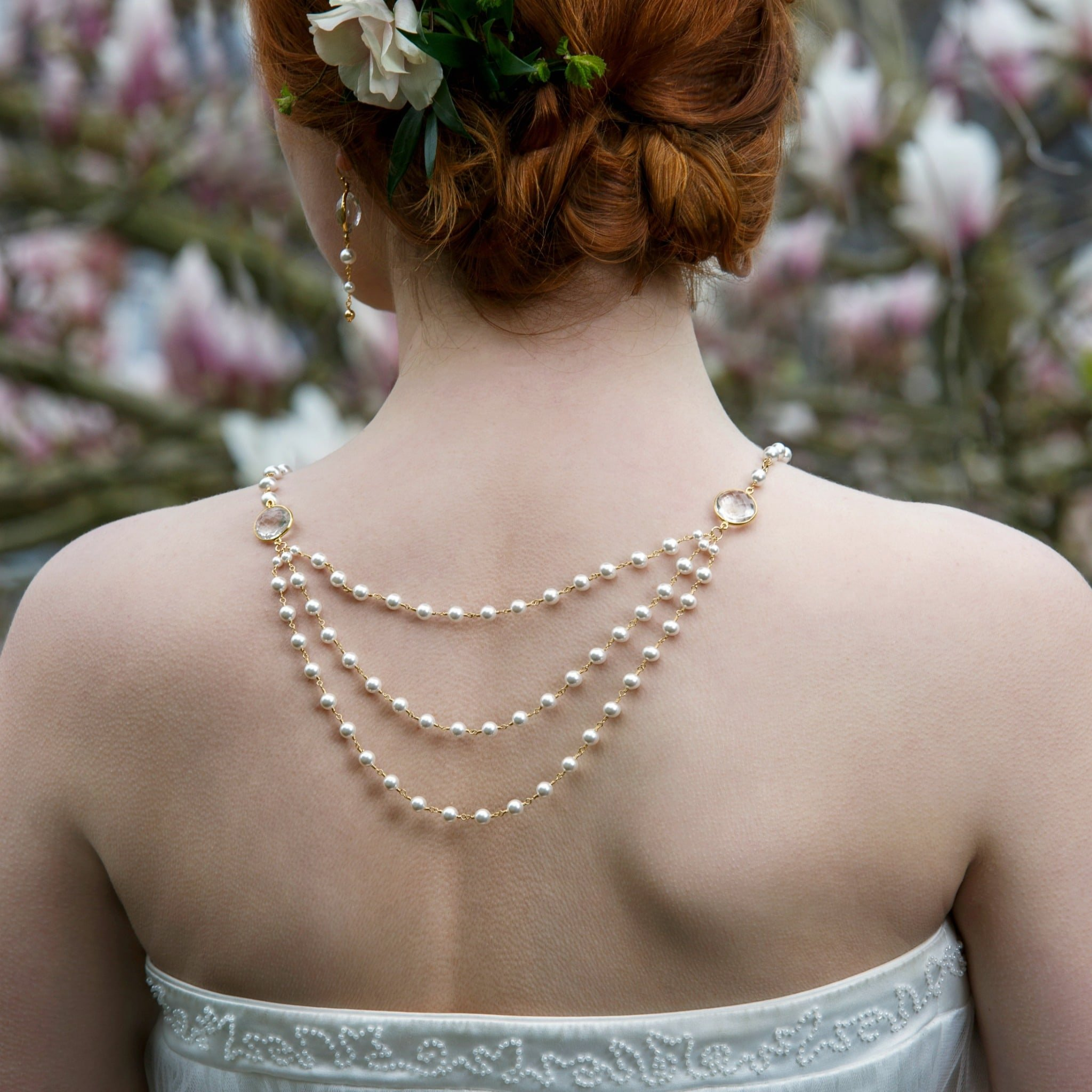 Statement Bridal Necklace | Multi Strand Wedding Necklace | Low Back Necklace Bridal