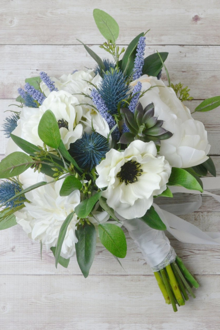Bridal Bouquet, Wedding Bouquet, Peony Bouquet, Anemones, Thistles, White Bouquet, Wedding Flowers, Boho Bouquet, Succulent, Blue Bouquet.png