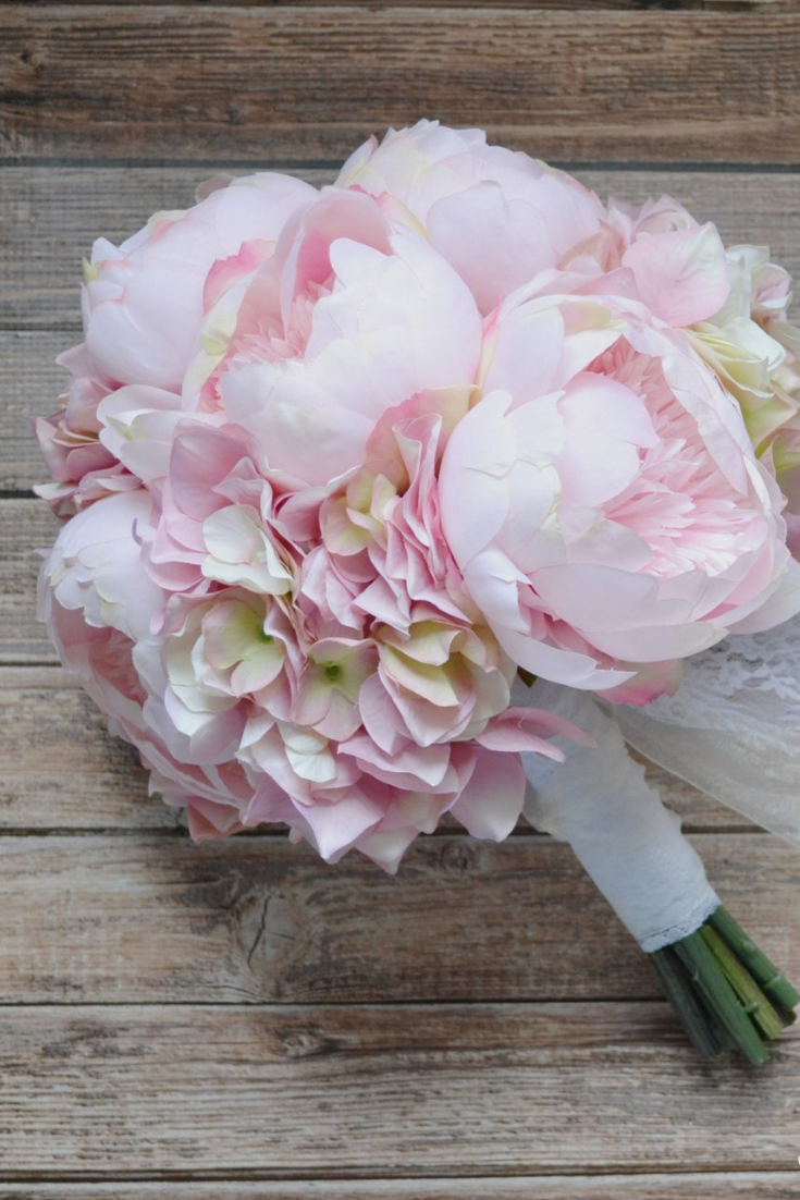 Peony Bouquet, Blush, Peonies, Wedding Bouquet, Bridal Bouquet, Hydrangea Bouquet, Destination Wedding Bouquet, Silk Flowers.png