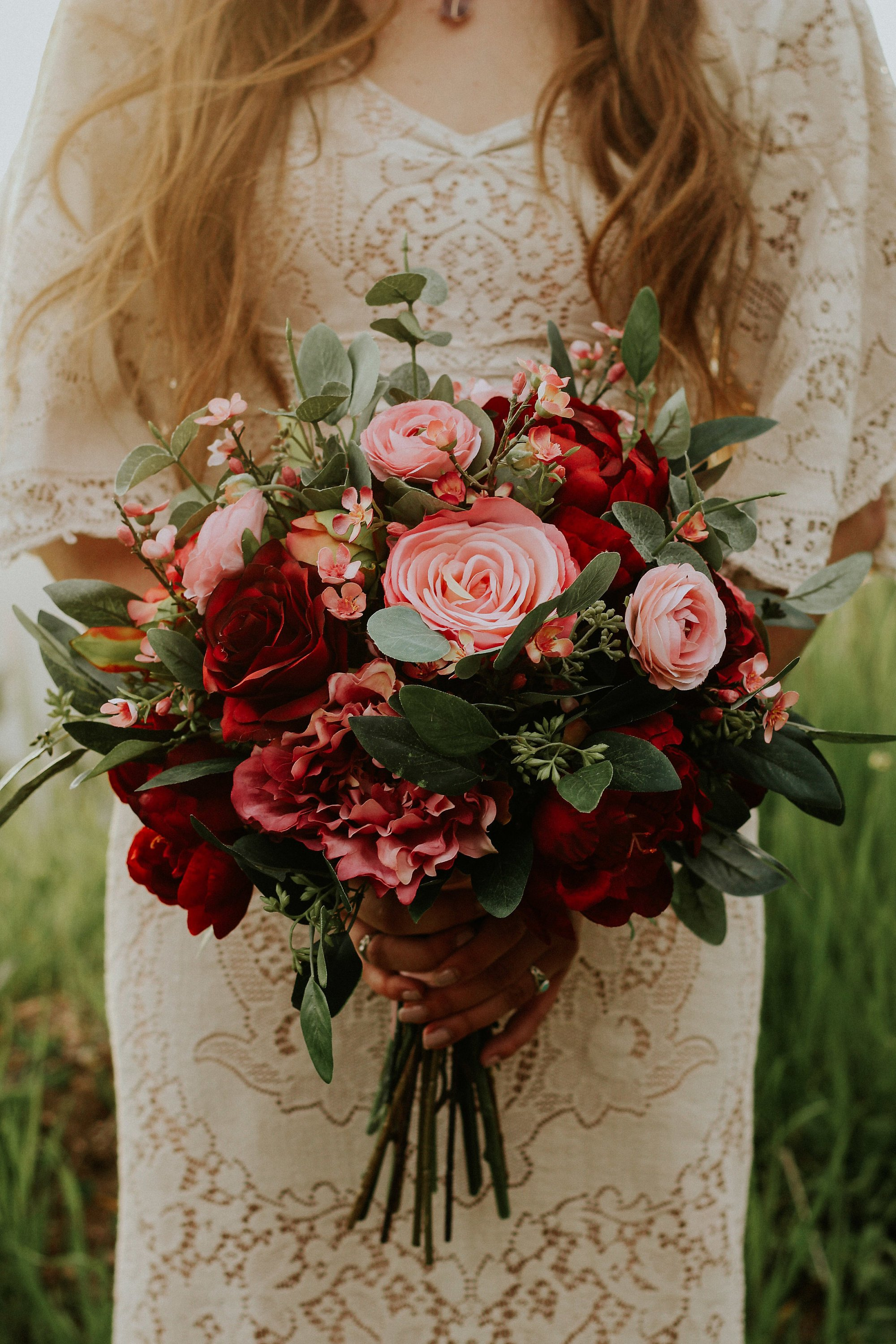 wedding bouquet, wedding flowers, boho bouquet, bridal bouquet, pink, red, burgundy, eucalyptus, wedding flower set, destination wedding.jpg