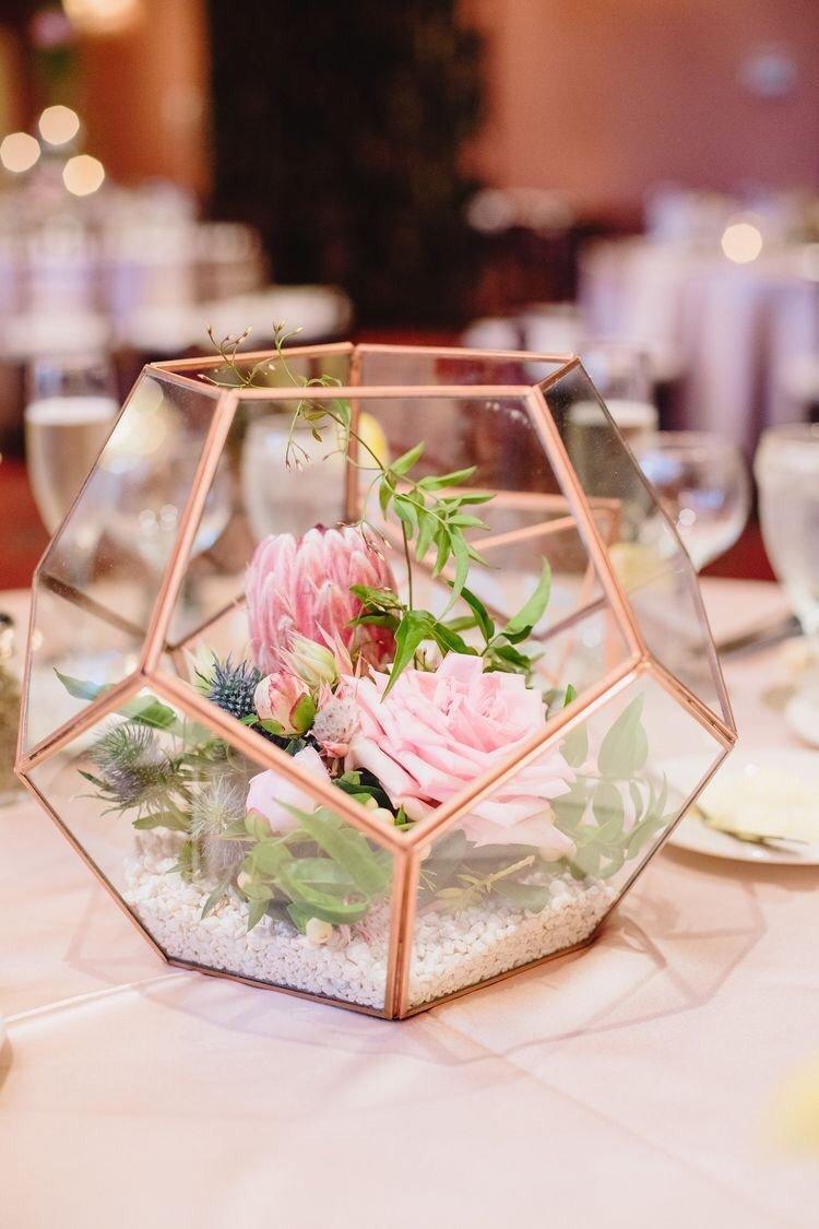 Rose Gold Copper Glass Geometric Terrarium Wedding Table Decor.jpg