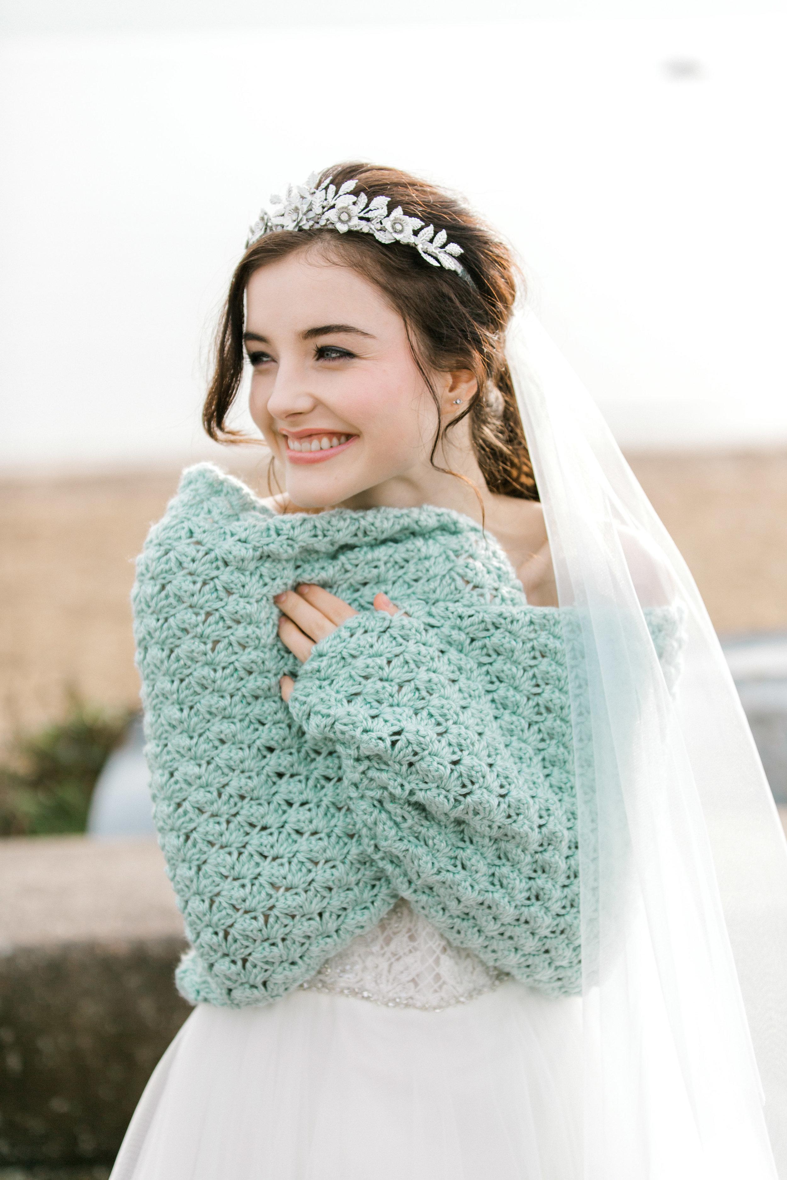 Pastel Green Spring Wedding Shawl