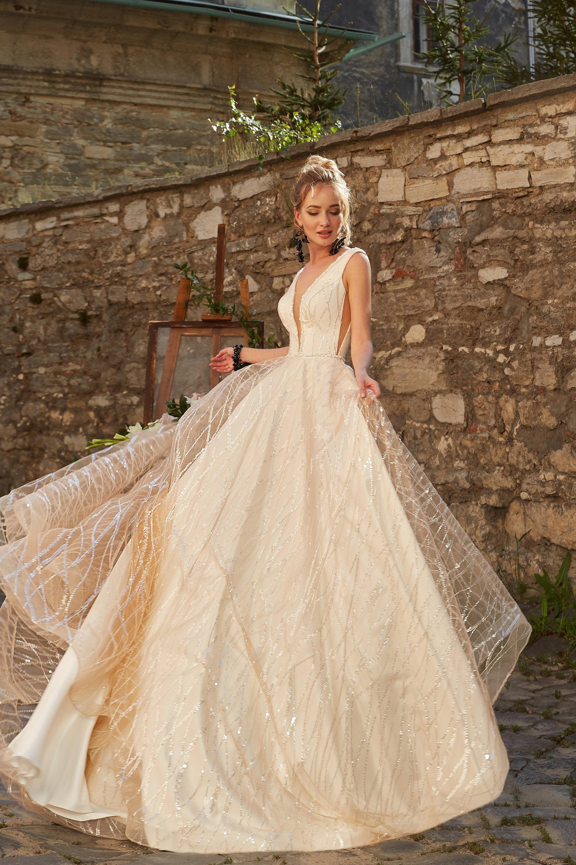 2019 Wedding Dress  sequins glitter pompous glamorous print dress