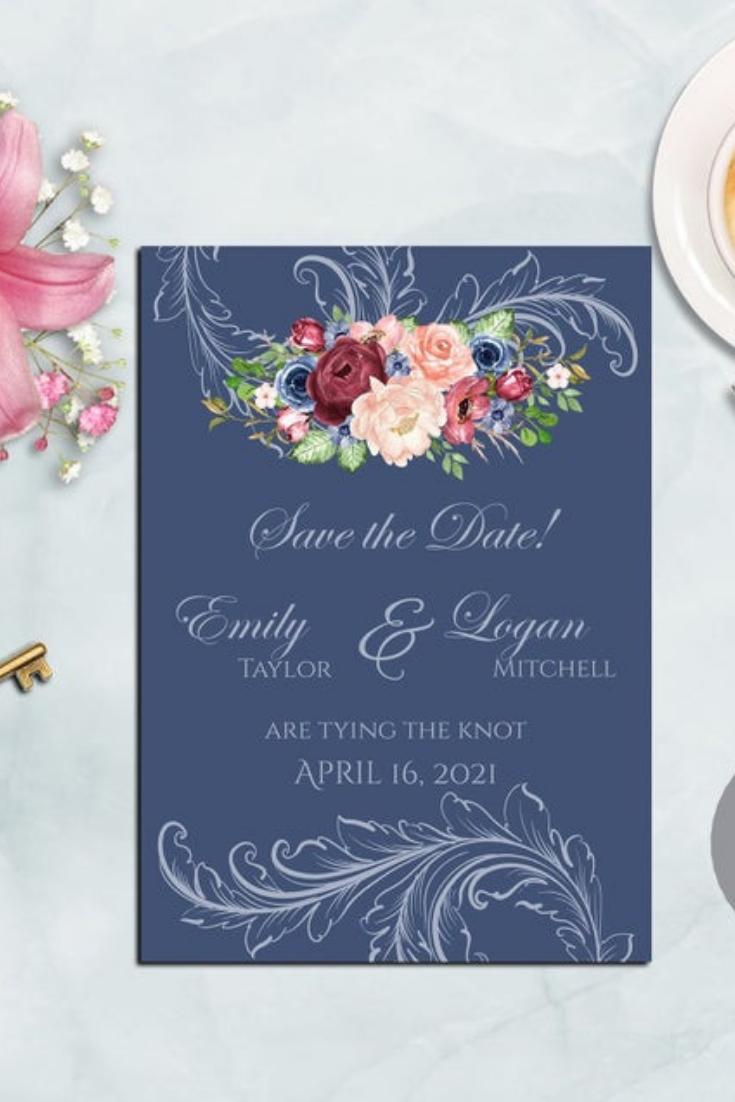 Dusty Blue Burgundy Floral, Editable Wedding Invitation