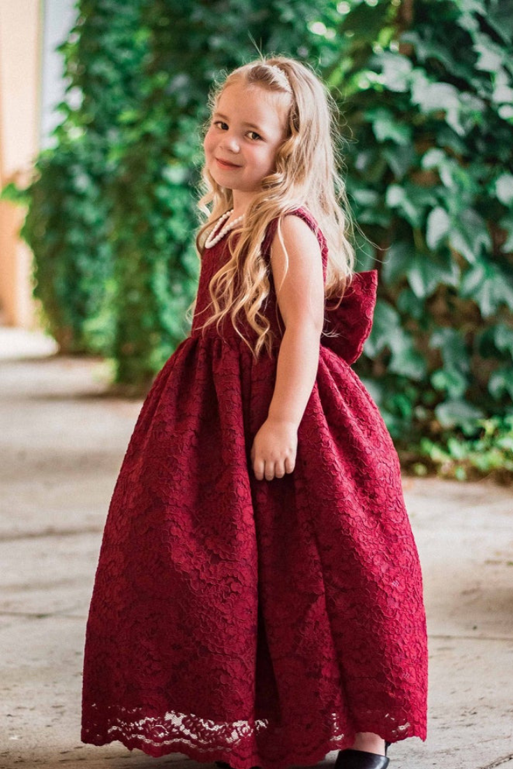 Country Classic Chic Summer Burgundy Christmas French Lace Gown Flower Girl Wedding