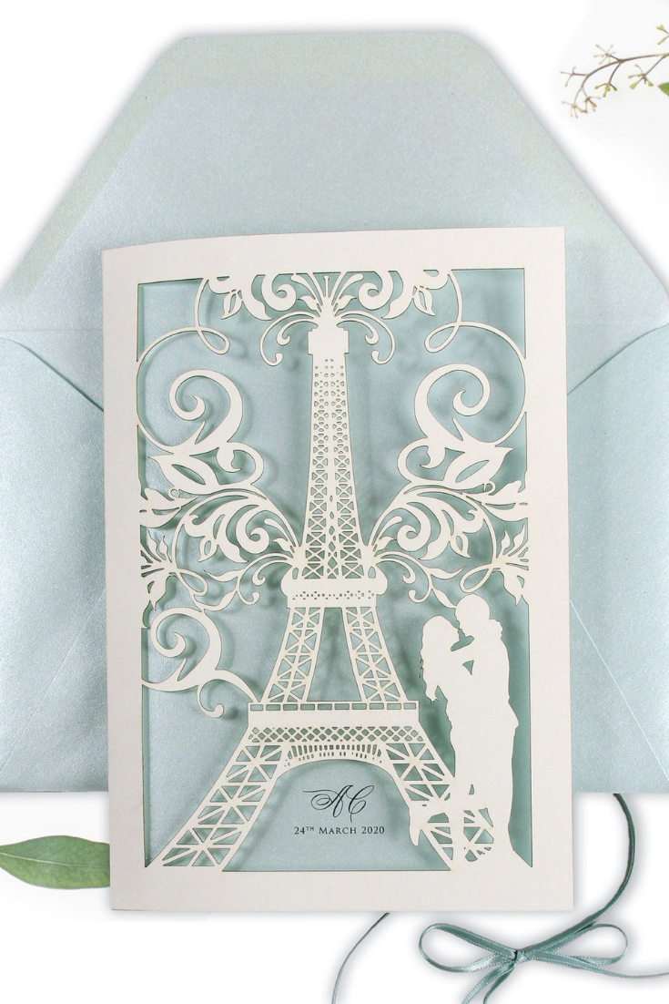 Laser Cut Paris Wedding Invitation, She said Yes in Paris, France, Eiffel Tower, Tiffany Blue Personalised with Colour Envelopes.png