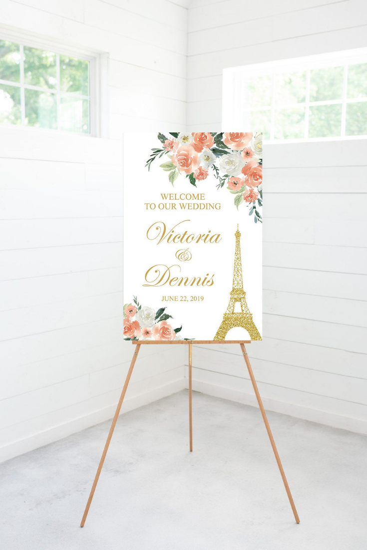 Paris Wedding Welcome Sign, Coral Watercolor Flowers, Wedding Decoration, Printable or Foam Sign Poster.png