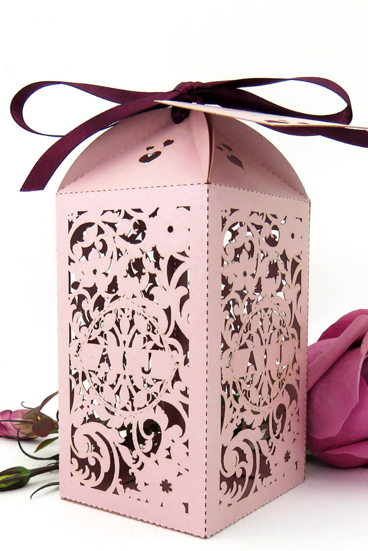 Country garden wedding favor box, Extra large laser cut wedding favour box, Romantic Blush