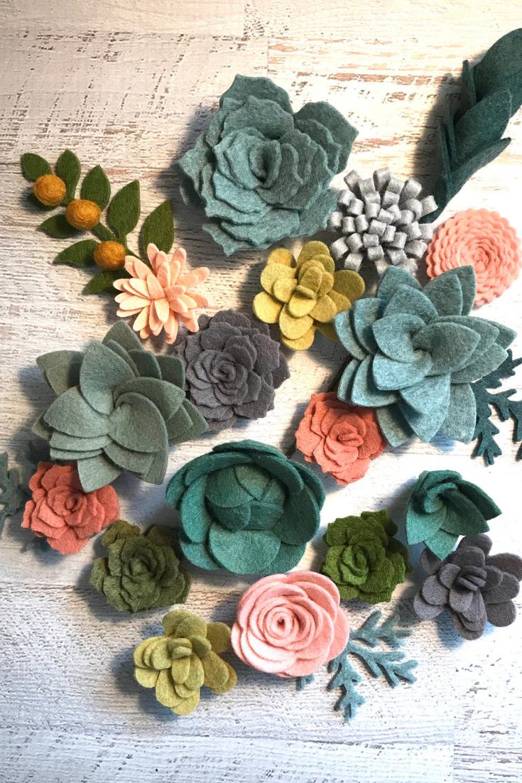 Wool Felt Succulents and Felt Flowers