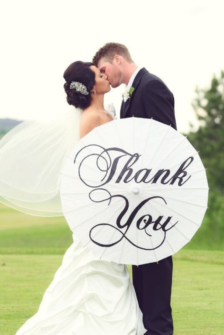 Wedding Personalized Custom Thank You Parasol Hand Painted Umbrella