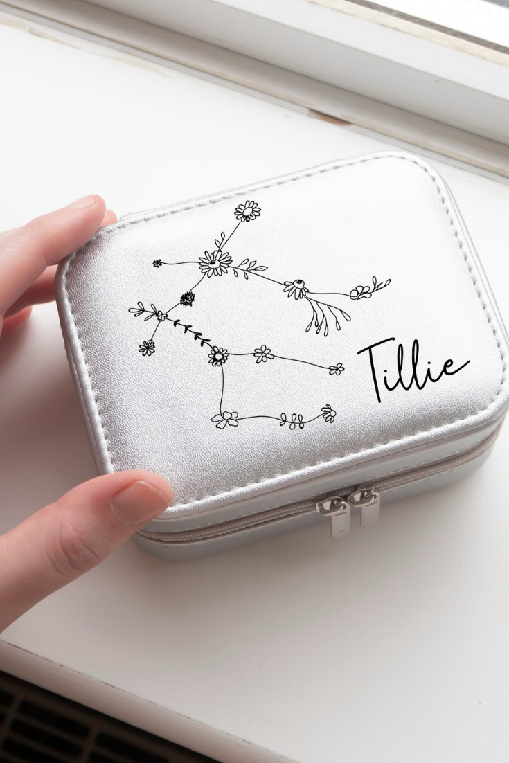 Floral Star Constellation Travel Case Zodiac Design keepsake rose gold silver personalised jewelry case bridesmaids gifts.png