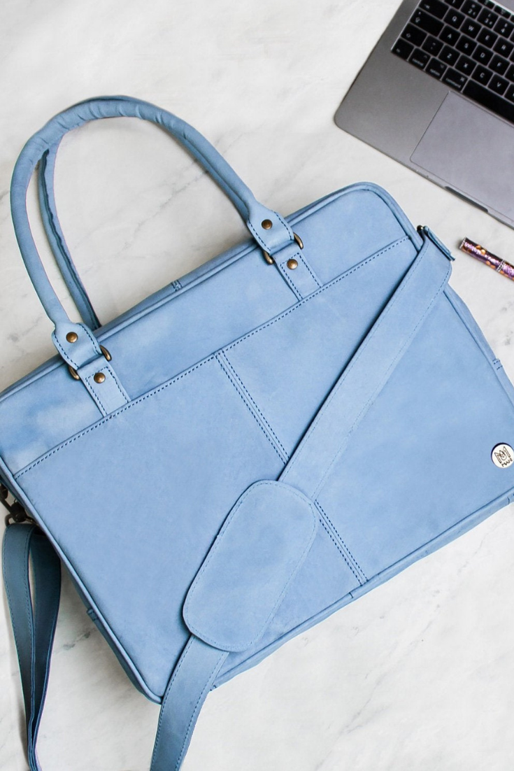 Personalized Soft Leather Briefcase - Work Bag - Satchel - 15 inch Laptop Capacity in Baby Blue Pastel Handmade.png