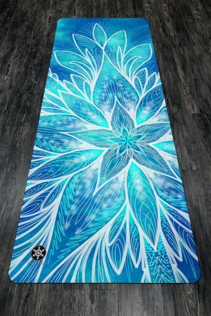 YOGA MAT - Lotus, Blue - bridesmaid gift
