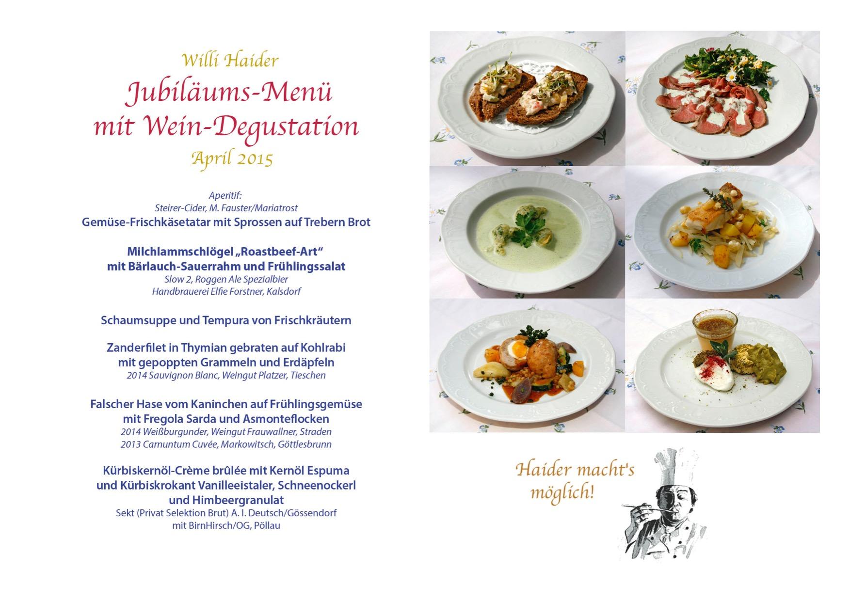 Jubiläums-Menü mit Wein-Degustation