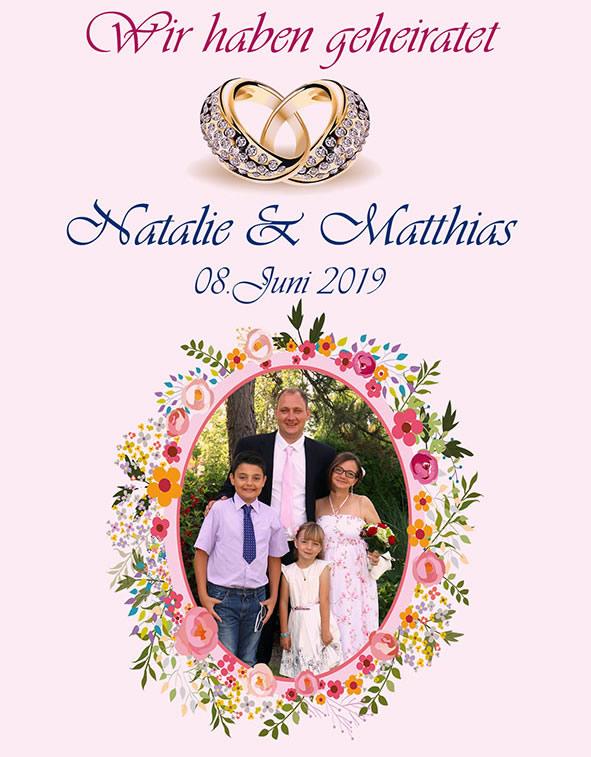 Matthias, Natalie und die Kinder Mike und Lea-Sophie  an ihrem großen Tag.