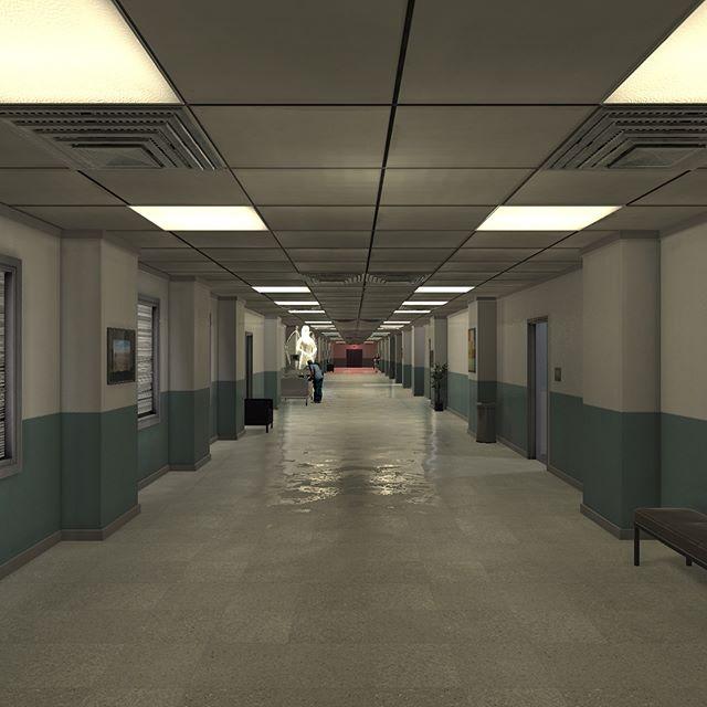 Hospital hallway #screenshot from the opening of #whereangelsmeet #screenshotsaturday #vr #virtualreality #vrmovie #storytelling