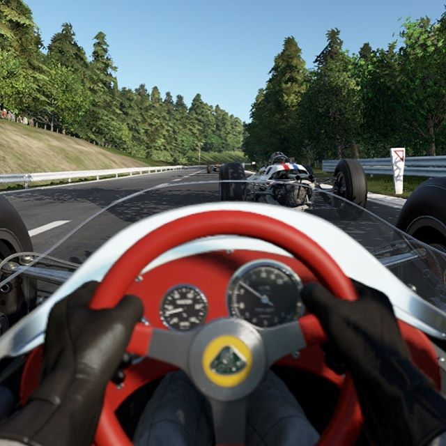 Why I love ❤️ #vr drove a classic #lotus #formula1 car around the #legendary #spafrancorchamps race circuit and avoided collision with an #ai driver #thrills #chills #projectcars2 #projectcarsgame #projectcars2photomode #fun #virtualreality
