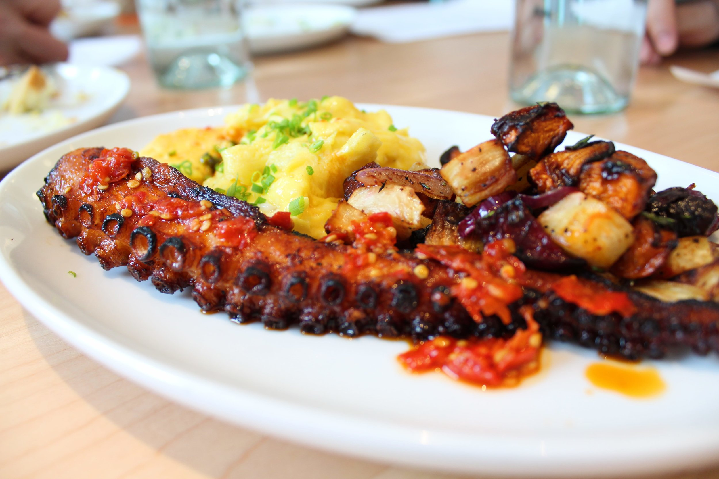 Grilled Spanish Octopus + Soft Scramble  - Photo: Shelby Forsyth