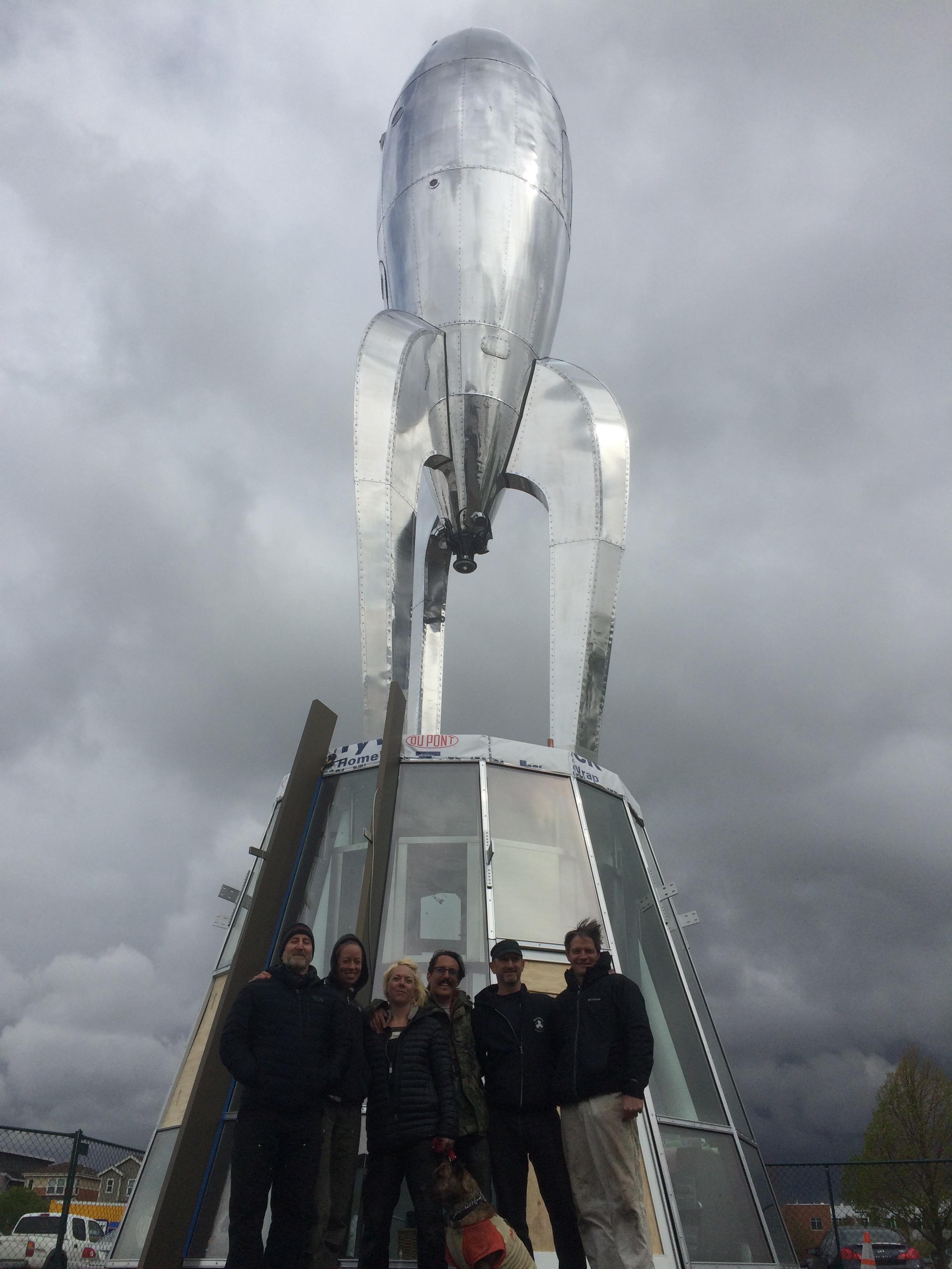 Raygun Gothic Rocketship permanently installed in Denver, CO.