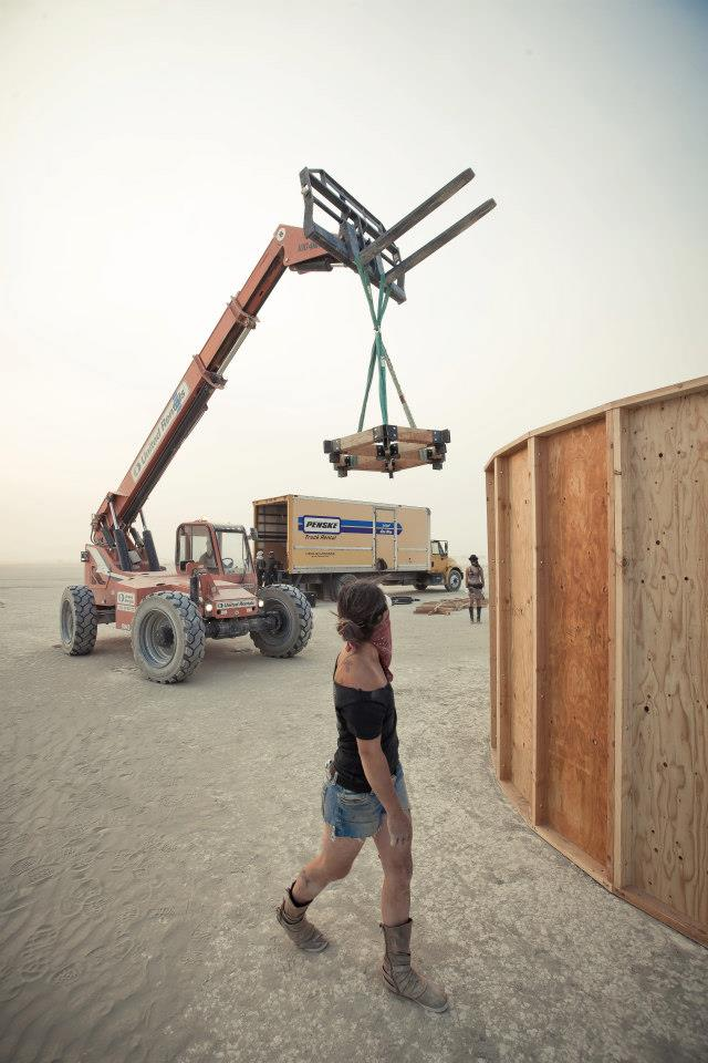 Installing the Sub-Sonarium at Burning Man 2012. Photo by Justin Oliphant.