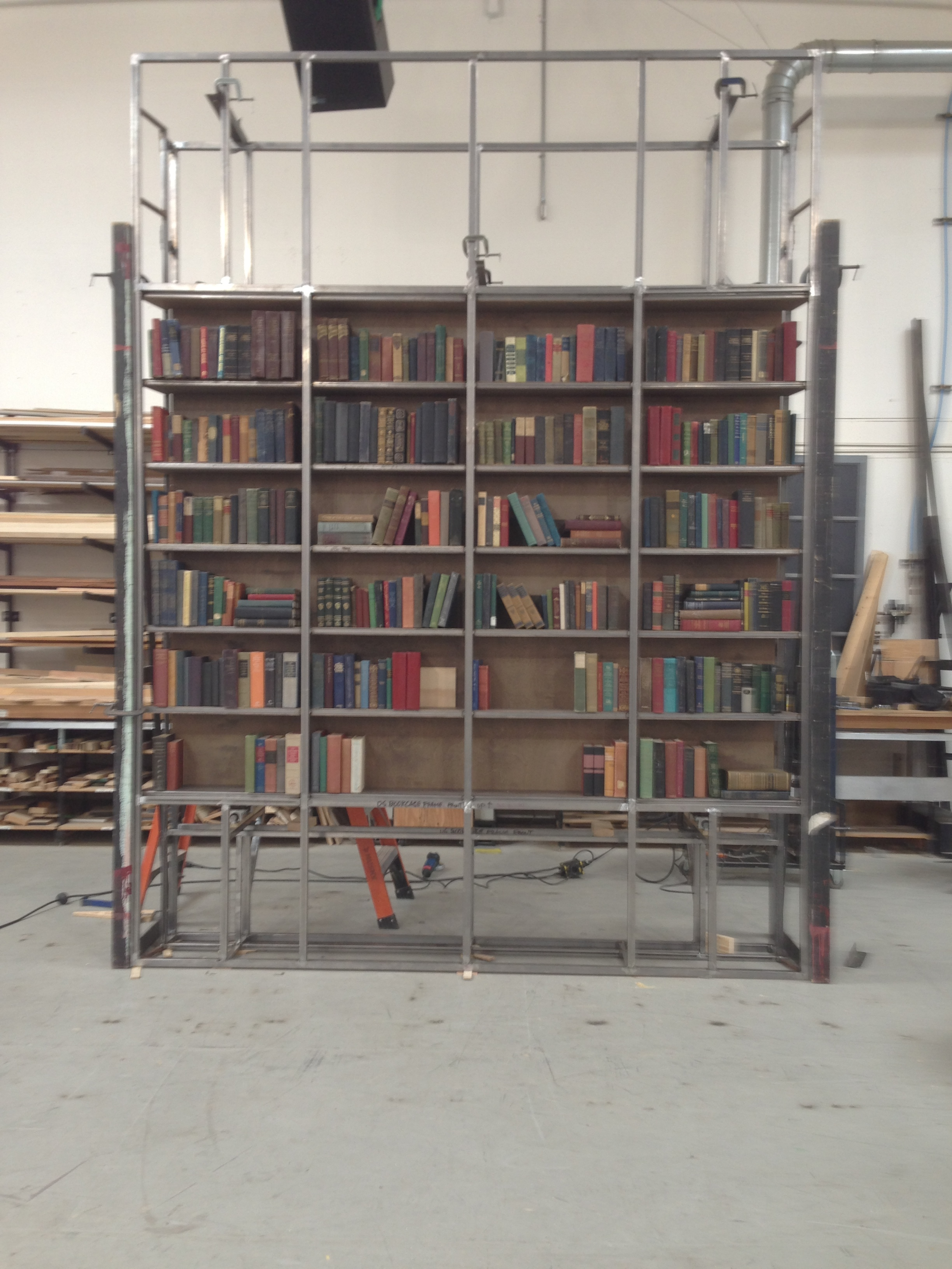 Magic bookcase in progress for  Tribes , 2013.