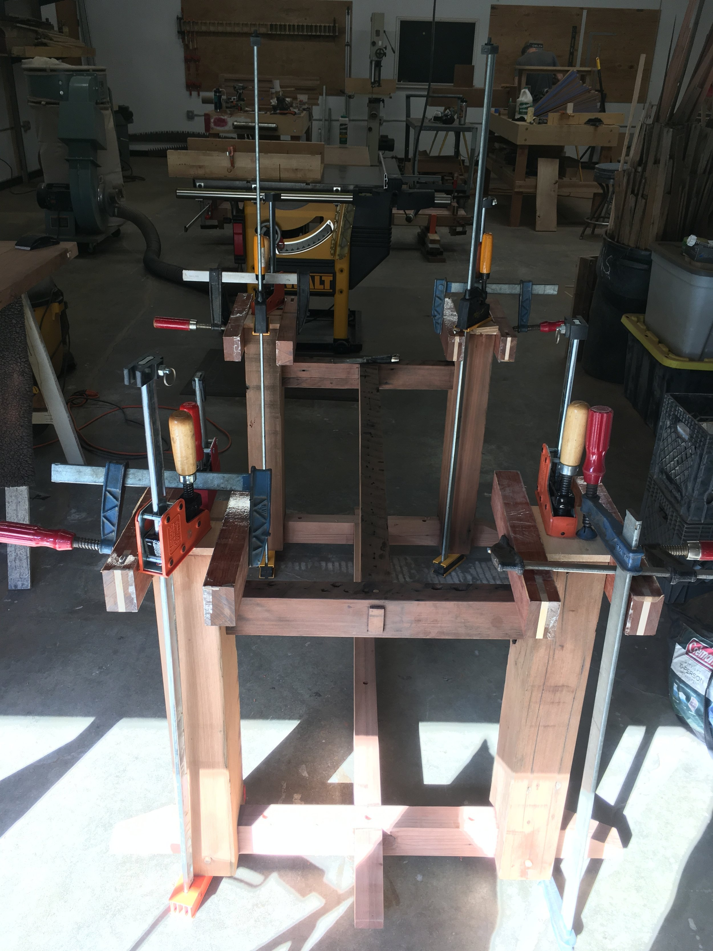 Glue-up of legs and H stretchers
