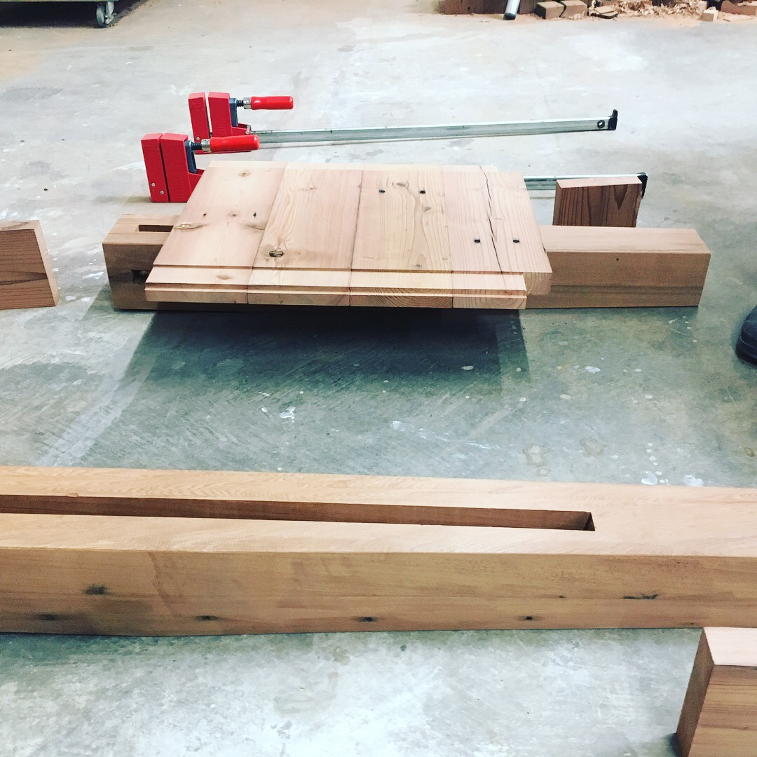 Legs and ends prepped for glue-up
