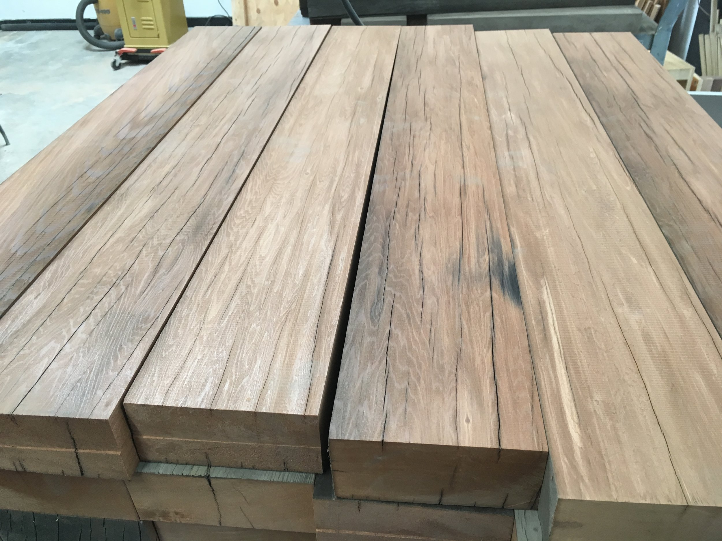 Old growth redwood prepped for legs