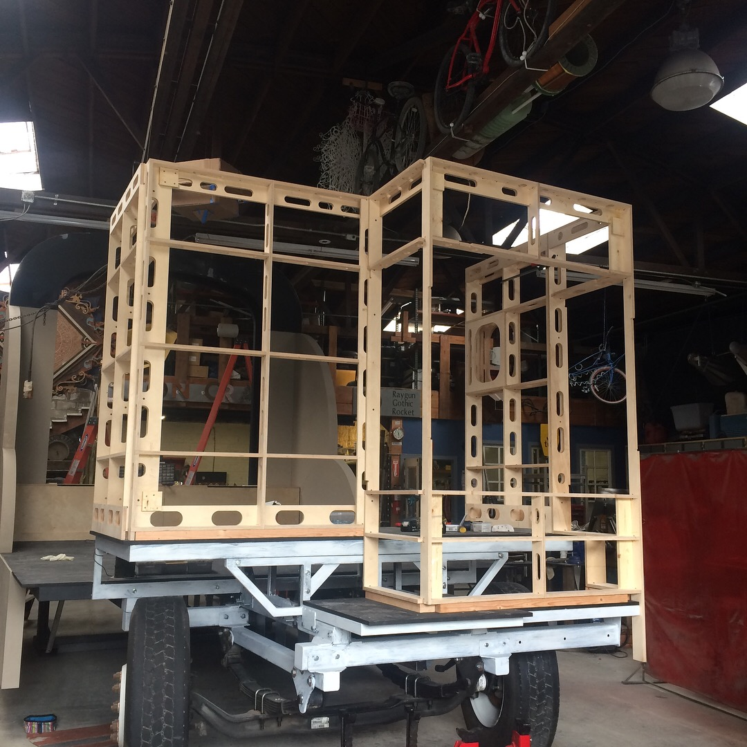 In progress, dry fit of cab wall frames.