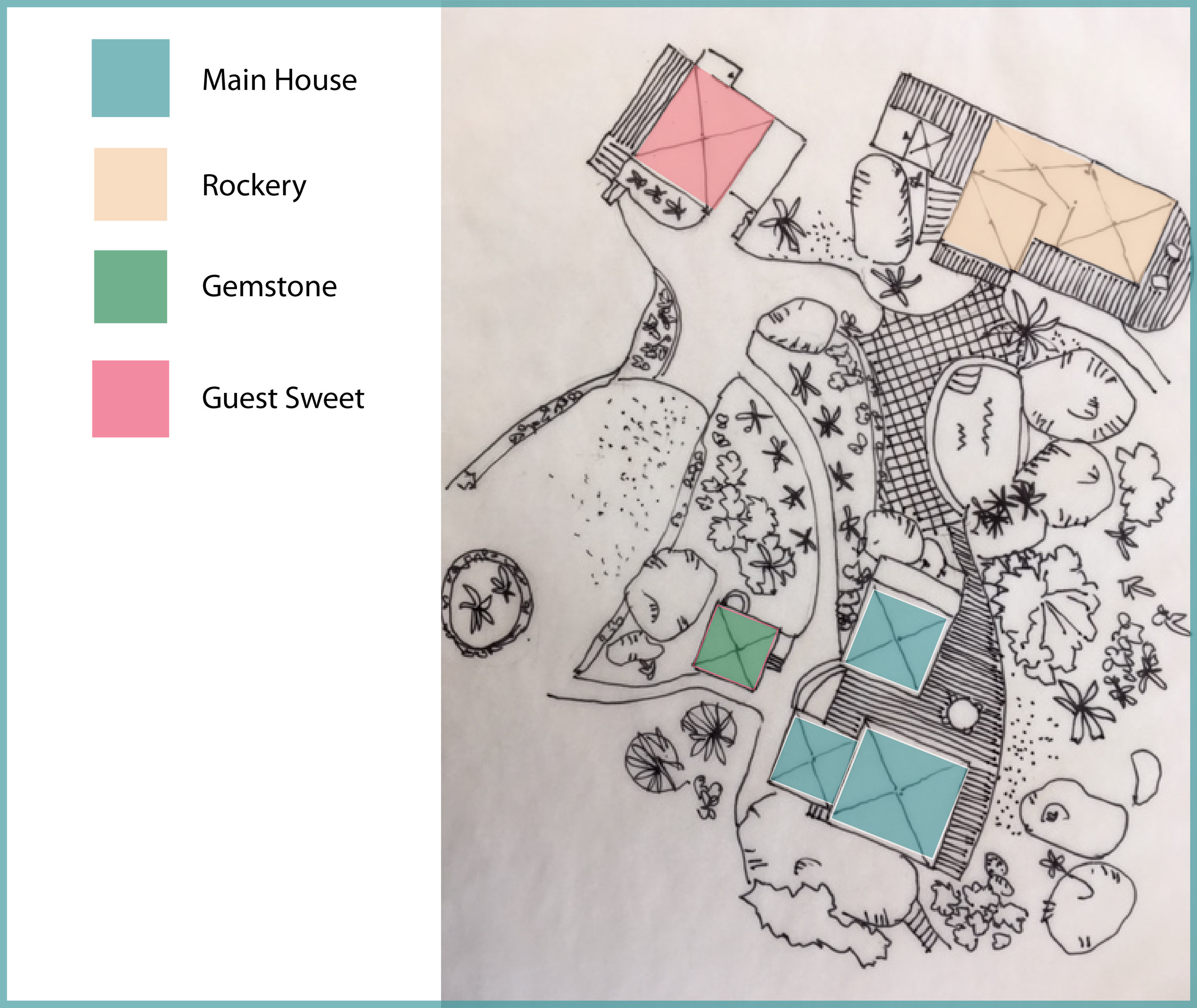 Rockmere layout - 5 bedrooms/5 bathrooms with 4 separate cottages(click image on left to enlarge)