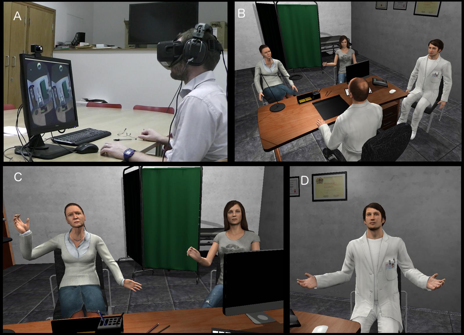 (above)  The set-up of Dr. Xueni Pan et. al's 2016 virtual reality study