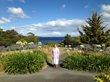 Sr Gabrielle Morgan pbvm on the Blackmans Bay site which will be used for affordable housing.