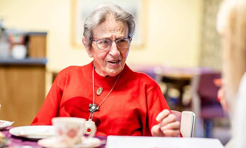 Sister Eymard McNamara lcm enjoys a cup of tea at Ryde Calvary Retirement Community. Photo: Catholic Weekly/Alfonsus Fok.