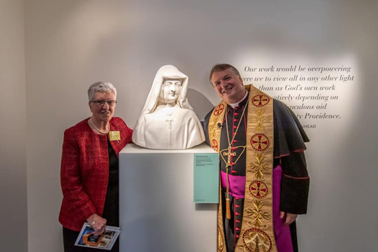 Congregational Leader, Sr Clare Nolan RSC and Archbishop Anthony Fisher OP at the opening and blessing of the Sisters of Charity Heritage Centre. (Photo: Catholic Weekly/Giovanni Portelli Photography)