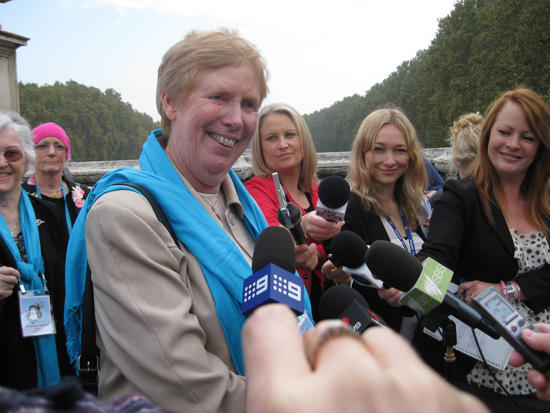 Sr Anne faces the media in Rome during the events surrounding the canonisation of St Mary of the Cross MacKillop in 2010. (Photo supplied)