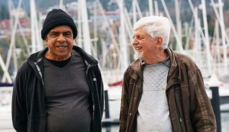 Gary Williams and Br Steve Morelli. Br Steve has been recognised for his efforts to keep Indigenous languages alive. (Photo supplied)