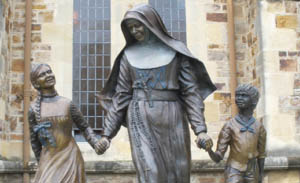 Statue of St Mary of the Cross MacKillop with children, St Francis Xavier Cathedral, Adelaide.