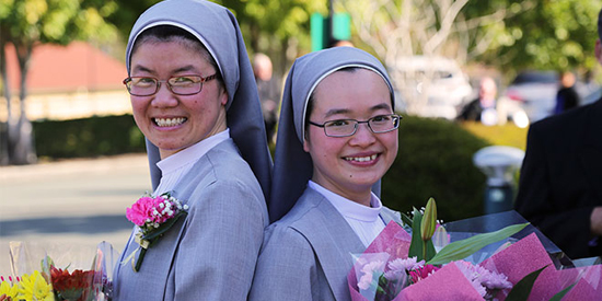 St Paul de Chartres Sisters Theresia Nguyen and Maria Goretti Tran at their perpetual profession at St Paul de Chartres Chapel, Boronia Heights in Brisbane (PHOTO: The Catholic Leader)