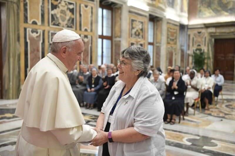 Sue Flood OSU meeting Pope Francis, September 2019