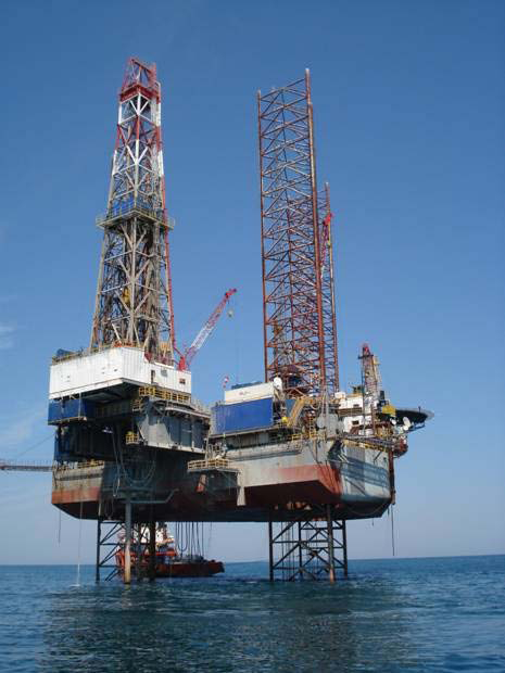 Above:  Transocean Jack-Up Rig Galloway drilling the successful Ombrina Mare OBM2-Dir appraisal well which was completed as a producer in 2008