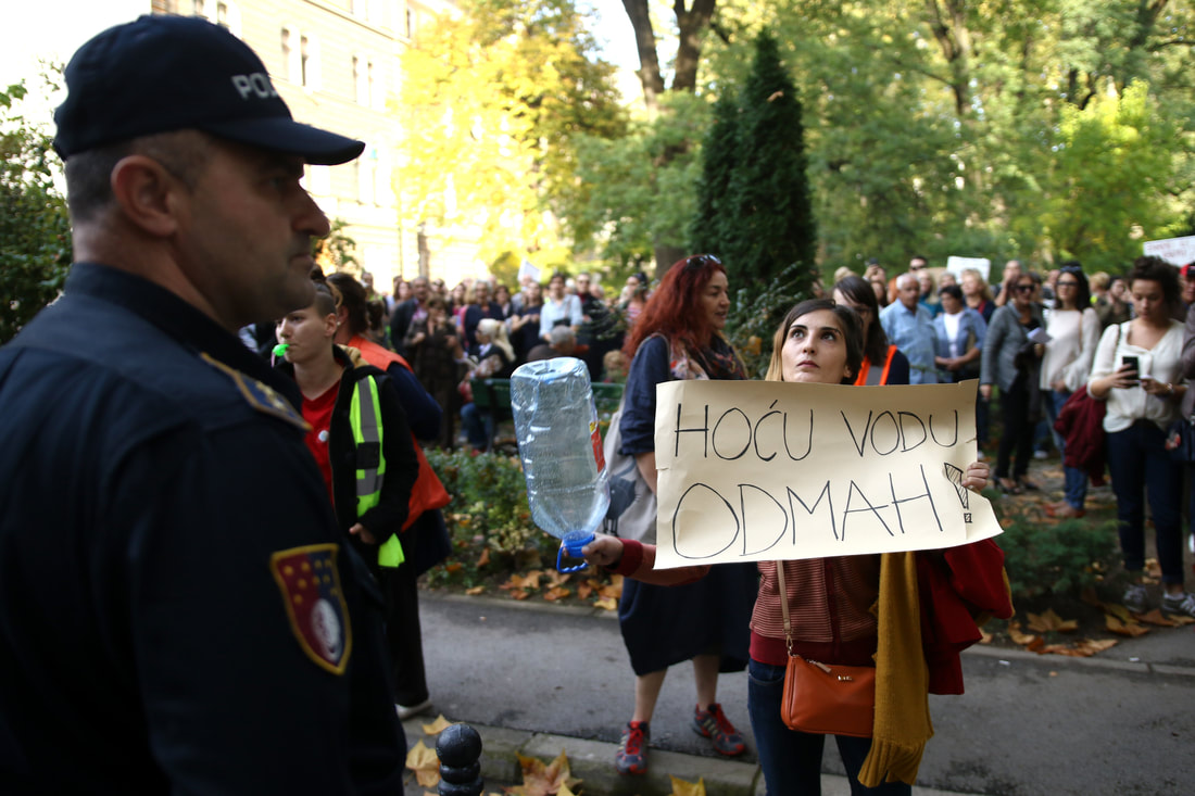 October 17, 2017, Sarajevo - Protests against the water restrictions in Sarajev. Most households don't have water from 12am to 6am, and many go without any water entirely.