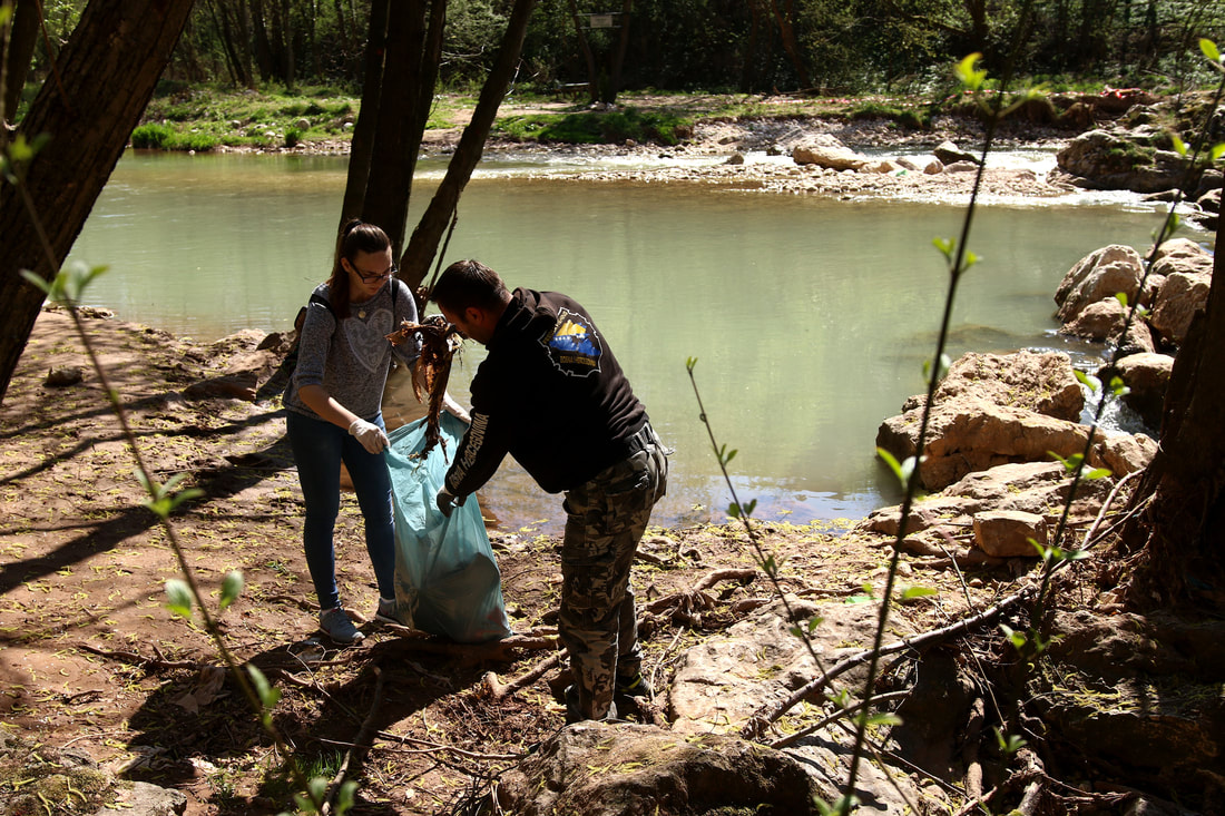 April 2, 2017, Sarajevo - Medical High school students worked jobs to raise money for their friends who could not afford a trip at the end of the High school. Pictured here, the city of Sarajevo hired them to clean Miljacka riverbed.